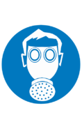 Знак M04 Работать с применением средств защиты дыхания (Пластик ФЭС-24 200х200х2 мм)