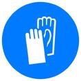 Знак M06 Работать в защитных перчатках (Пластик ФЭС-24 200х200х2 мм)