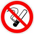 Знак P01 Запрещается курить (Пластик 200х200х2 мм)