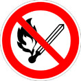 Знак P02 Запрещается пользоваться открытым огнем и курить (Пластик ФЭС-24 200х200х2 мм)