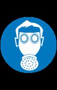 Знак M04 Работать с применением средств защиты дыхания (Пленка 200х200 мм)