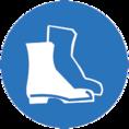 Знак M05 Работать в защитной обуви (Пленка 200х200 мм)