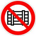 Знак P12 Запрещается загромождать проходы и (или) складировать (Пленка 150х150 мм)