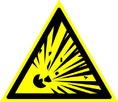 Знак W02 Взрывоопасно (Пластик ФЭС-24 200х200х2 мм)