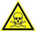 Знак W03 Опасно. Ядовитые вещества (Пластик ФЭС-24 200х200х2 мм)