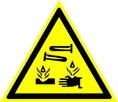 Знак W04 Опасно. Едкие и коррозионные вещества (Пластик ФЭС-24 200х200х2 мм)