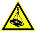 Знак W06 Опасно. Возможно падение груза (Пластик ФЭС-24 200х200х2 мм)