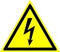 Знак W08 Опасность поражения электрическим током (Пленка 200х200 мм)