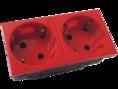 Розетка электрическая с заземляющим контактом двойная  под углом 45гр (красный) (200010) SPL