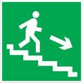 Знак E13 Направление к эвакуационному выходу по лестнице вниз (Пленка фотолюм (не гост) 200х200 мм)