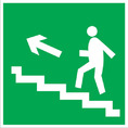 Знак E16 Направление к эвакуационному выходу по лестнице вверх (левосторонний) (Пленка фотолюм (не гост) 200х200 мм)