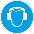 Знак M03 Работать в защитных наушниках (Пластик 200х200х2 мм)