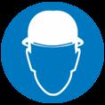 Знак M02 Работать в защитной каске (Пленка ФЭС-24 200х200 мм)