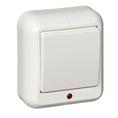 ПРИМА Выключатель одноклавишный наружный с индикацией 250В 6А белый (A16-046-B)