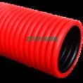 Труба гофрированная двустенная ПЭ жесткая тип 450 (SN14) красная д90 6м (36м/уп) Промрукав