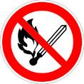 Знак P02 Запрещается пользоваться открытым огнем и курить (Пленка фотолюм (не гост) 200х200 мм)
