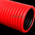 Труба гофрированная двустенная ПЭ жесткая тип 450 (SN12) красная д110 6м (36м/уп) Промрукав