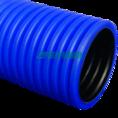 Труба гофрированная двустенная ПЭ жесткая тип 450 (SN12) синяя д110 6м (36м/уп) Промрукав