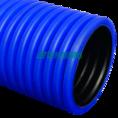 Труба гофрированная двустенная ПЭ жесткая тип 450 (SN10) синяя д125 6м (36м/уп) Промрукав