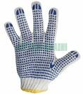 Перчатки ХБ с нанесением ПВХ (точка), 4 нити, 63-65гр., 7,5 класс вязки. (09-0212)