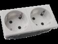 Розетка электрическая с заземляющим контактом двойная  под углом 45гр (белый) (200003) SPL