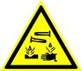 Знак W04 Опасно. Едкие и коррозионные вещества (Пластик 200х200х2 мм)