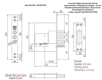 Kale Kilit 257 L 5K128 FP35 CR PB