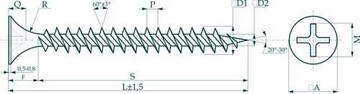 Метизы Саморезы 3,5х35 потай, частая резьба, оксид (500 шт)