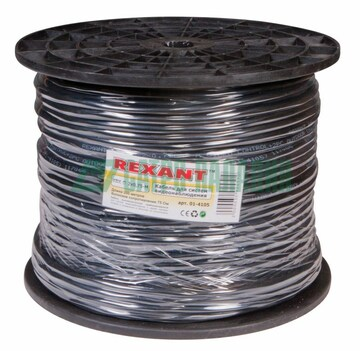 Rexant КВК-П-2 +2x0,75 мм² (Cu/Cu) черный (бухта 200 м) REXANT (01-4105)